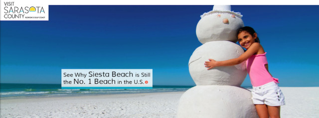 Visit Sarasota County's homepage on March 15 touted Siesta Public Beach. Image from the website