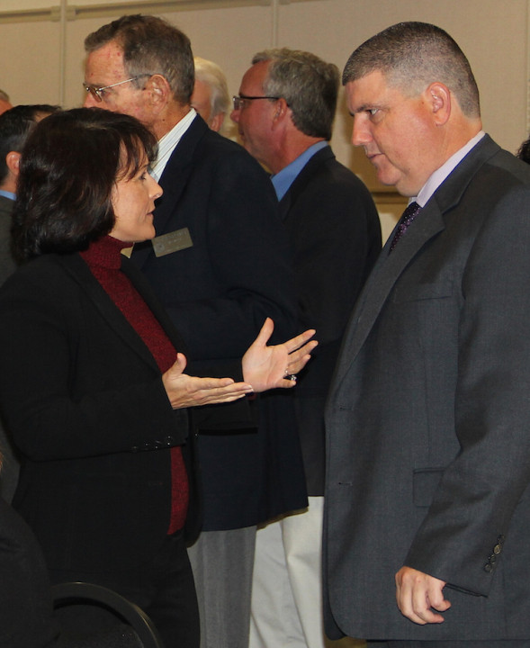 Mireya Eavey talks with Todd Bowden, during the 2014 Convocation of Governments at the college. File photo
