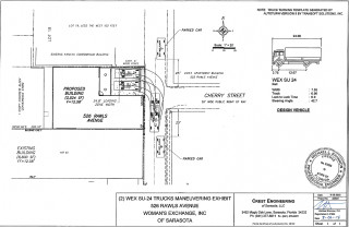 An engineering drawing shows the plan for the expansion, with the Rawls Avenue loading zone. Image courtesy City of Sarasota