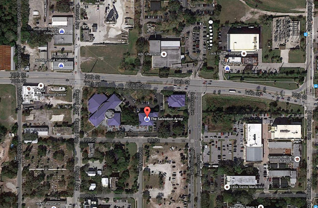The Salvation Army facility is on 10th Street in Sarasota. Image from Google Maps