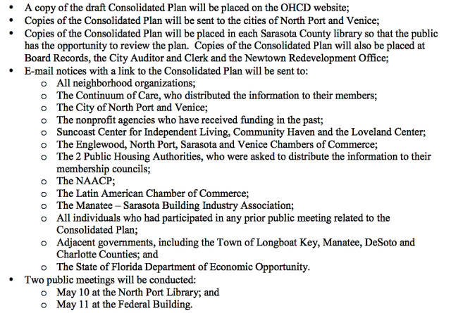 A list shows how copies of the draft Consolidated Plan will be distributed in the effort to obtain public comments. Image courtesy Sarasota County