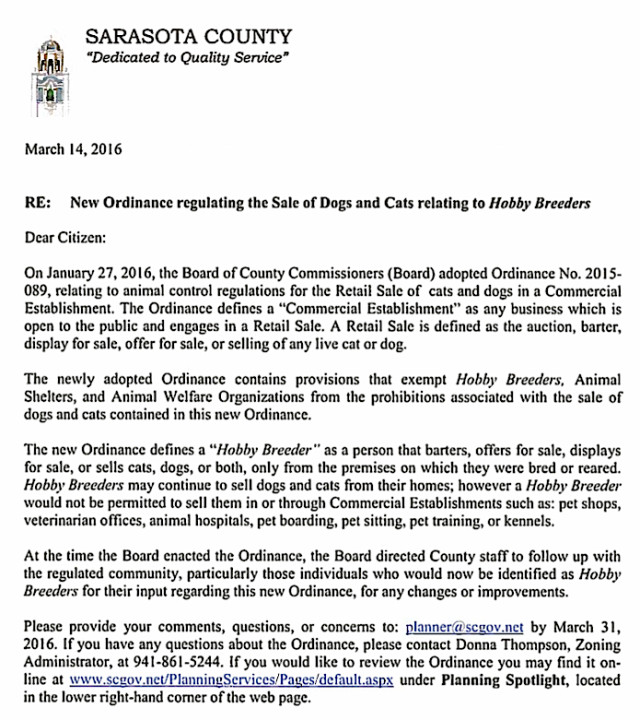 County staff sent out this letter in March. Image courtesy Sarasota County