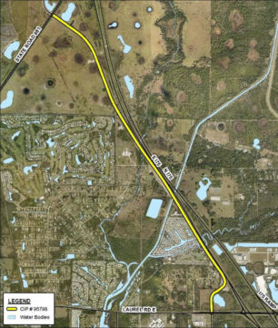 A graphic shows the extension in yellow. Image courtesy Sarasota County
