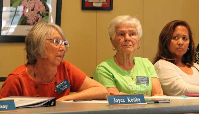 SKA board members Joyce Kouba, Helen Clifford and Beverly Arias listen to discussion on April 7. Rachel Hackney photo
