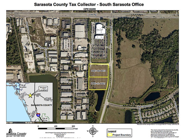 A county graphic shows the two parcels that comprise the site for the Mid-County Tax Collector's Office. Image courtesy Sarasota County