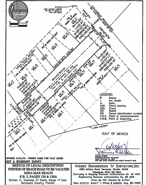 An engineering drawing shows the segment of road at the focus of the petition. Image courtesy Sarasota County