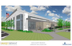 A rendering shows the Mid-County Tax Collector's Office. Image courtesy Fawley Bryant
