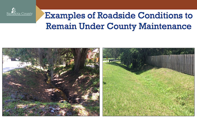 These types of areas will continued to be maintained by the county, staff says. Images courtesy Sarasota County