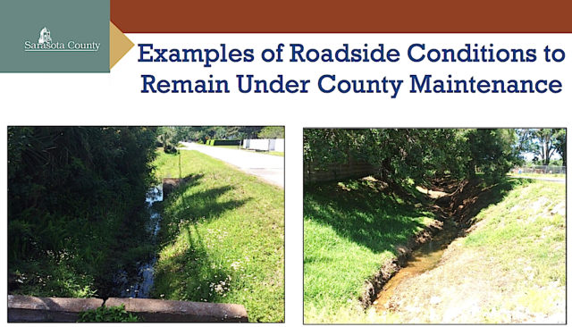 Areas like these would continue to be maintained by the county, staff says. Image courtesy Sarasota County