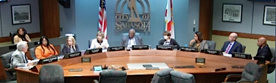 The Sarasota City Commission sits in session on April 18. News Leader photo