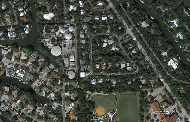 An aerial map shows the Siesta Key Wastewater Plant at the end of Shadow Lawn Drive in Siesta Isles. Image from Google Maps