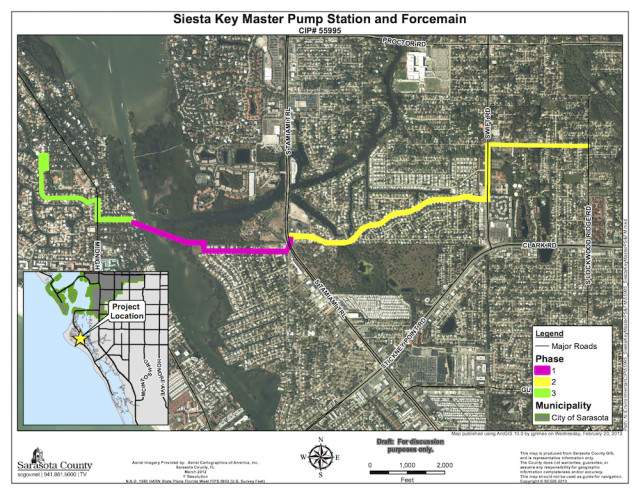 A graphic shows the areas of the three phases of the project. Image courtesy Sarasota County