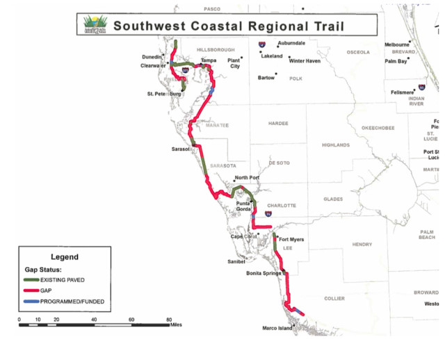 A graphic shows the Southwest Coastal Regional Trail as of March 2016. Image courtesy Sarasota County