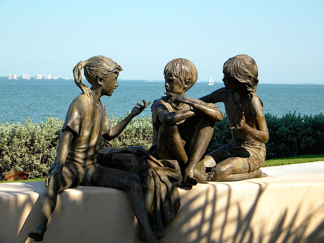 Facts of Life by Glenna Goodacre, which is on the Van Wezl Performing Arts Hall property, is part of the city's public art collection. File photo