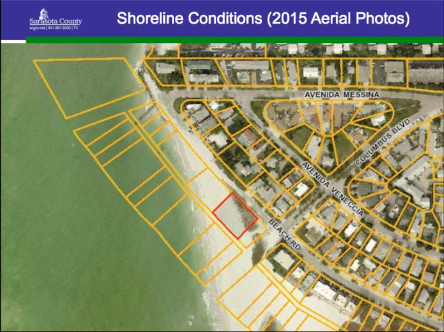A 2015 aerial of the Maddens' seaward parcel shows the changes on the beach. Image courtesy Sarasota County