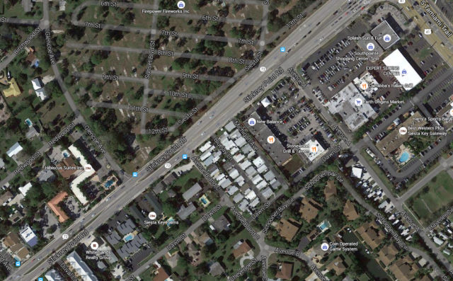 An aerial view shows Stickney Point Road and the Avenue B and C intersection, with the Benderson property to the north. Image from Google Maps
