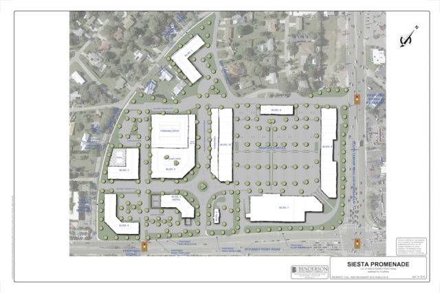 A site plan shows the proposed layout of the development. Building 7 would include the upscale grocery store. Image courtesy Benderson Development