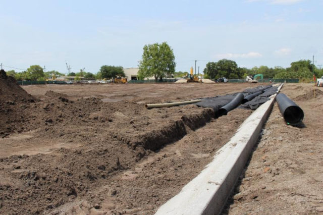 Curbing around the multipurpose field was poured last week, city staff says. Photo courtesy City of Sarasota