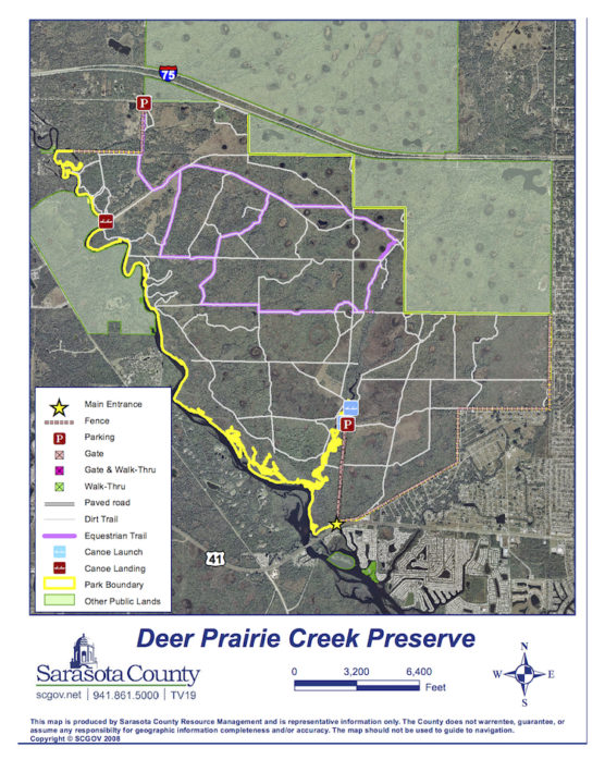 A map shows the trails in Deer Prairie Creek Preserve. Image courtesy Sarasota County