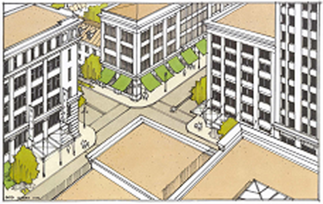 The city's Zoning Code uses this image as an example of Downtown Core construction. Image courtesy City of Sarasota