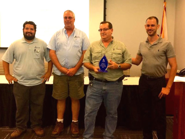 (From left) Sarasota County Public Utilities employees Hector Gonzalez, Jim Armstrong, Greg Fischer and Region X Chair Kyle Kellogg are shown at the Best Tasting Drinking Water contest. Contributed photo