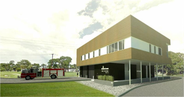 A rendering shows the design of the new station. Image courtesy Sarasota County