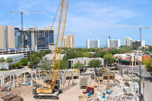 Infrastructure construction has been underway at the site of Hotel Curio on Palm Avenue. Photo courtesy City of Sarasota