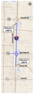 A graphic shows the project boundaries. Image courtesy FDOT
