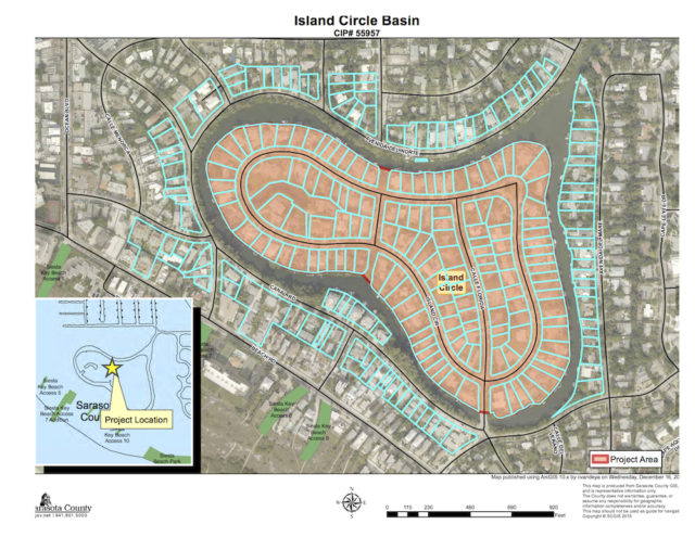 A graphic shows the Island Circle basin. Image courtesy Sarasota County