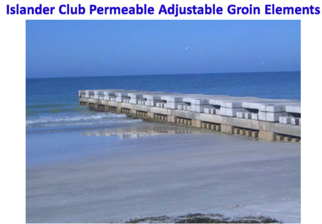 A close-up of a groin shows the blocks. Image courtesy Town of Longboat Key