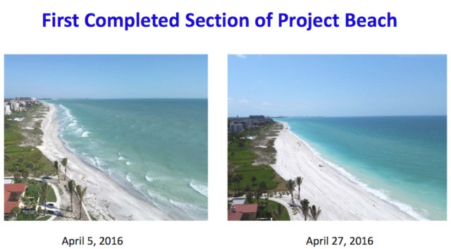 Slides in the presentation included before and after shots of the beach. Image courtesy Town of Longboat Key