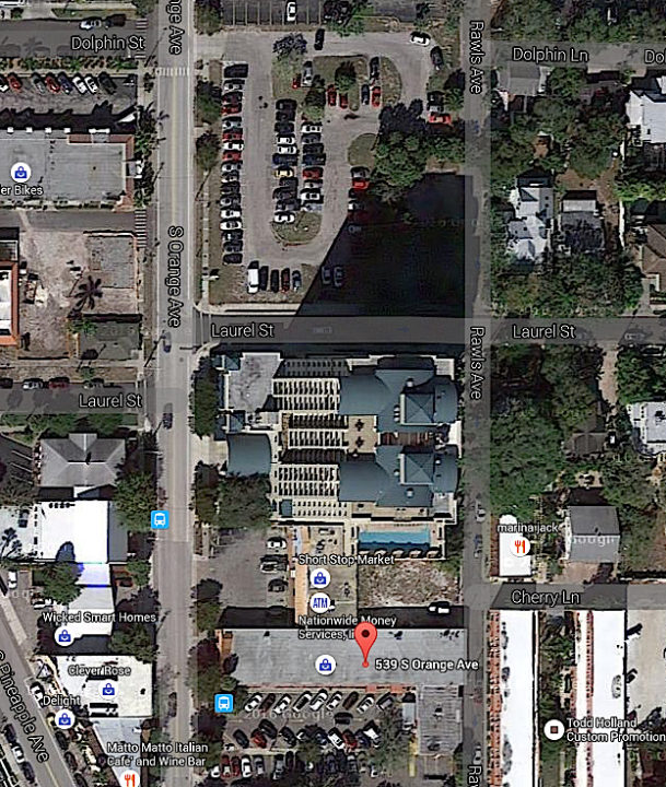 An aerial view shows the property owned by Michael Saunders north of the Woman's Exchange on South Orange Avenue. The Sarasota County Property Appraiser's Office valued the land at more than $2 million last year. Image from Google Maps