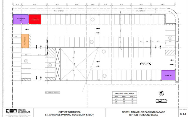 A Kimley-Horn and Associates engineering diagram shows a potential layout for the garage on North Adams Drive. Image courtesy City of Sarasota