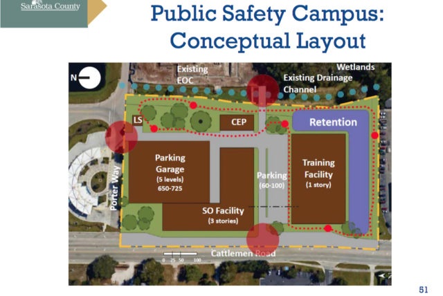 A graphic shows a conceptual layout for the Public Safety Campus on Cattlemen Road. Image courtesy Sarasota County