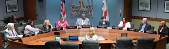 The City Commission lsits in session. File photo