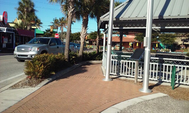 The pavers appeared clean outside the gazebo right after the February pressure washing. Photo courtesy Lisa Cece, Sarasota County