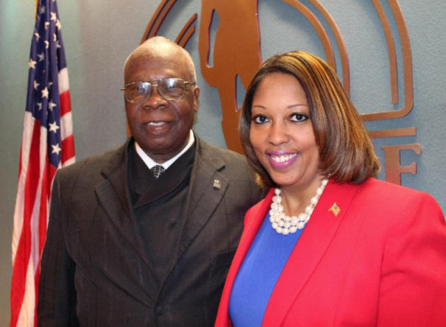 Mayor Willie Shaw and Vice Mayor Shelli Freeland Eddie pose after the votes on May 27. Photo courtesy City of Sarasota