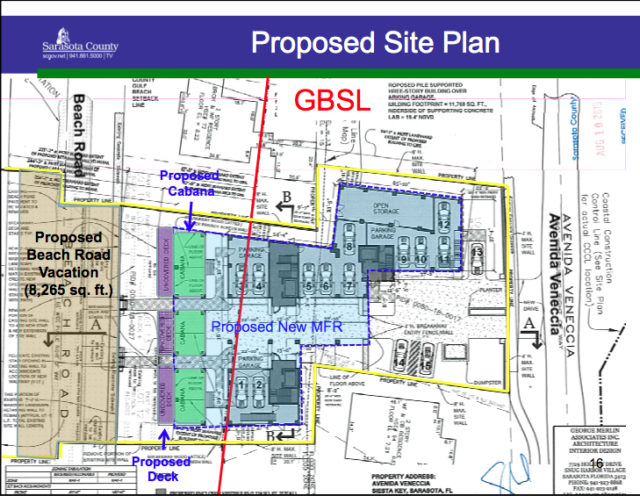 The staff report showed the new site plan for the Maddens' property. Image courtesy Sarasota County