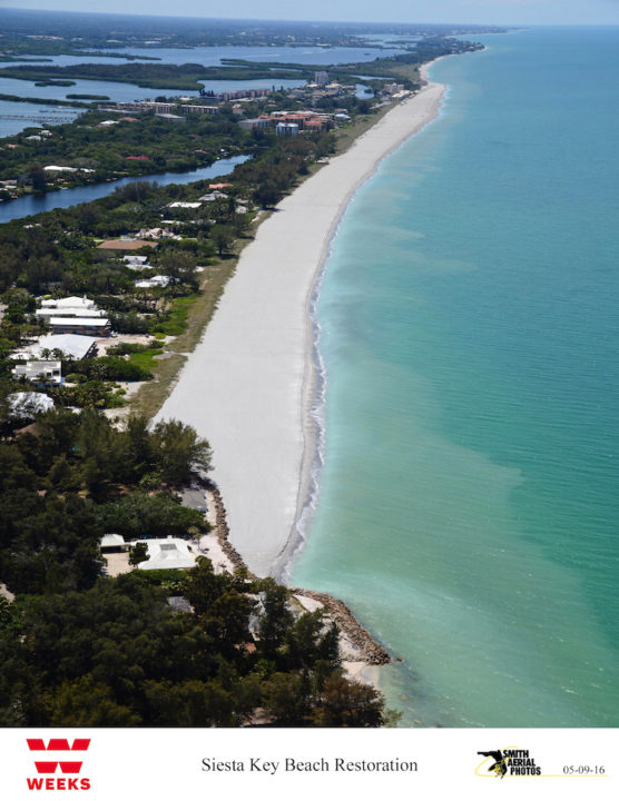 An aerial view of south Siesta Key shows the results of the renourishment project. Image courtesy Sarasota County