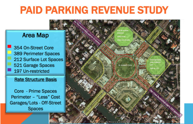 A graphic shows how the paid parking program will be applied to specific areas of St. Armands. Image courtesy City of Sarasota