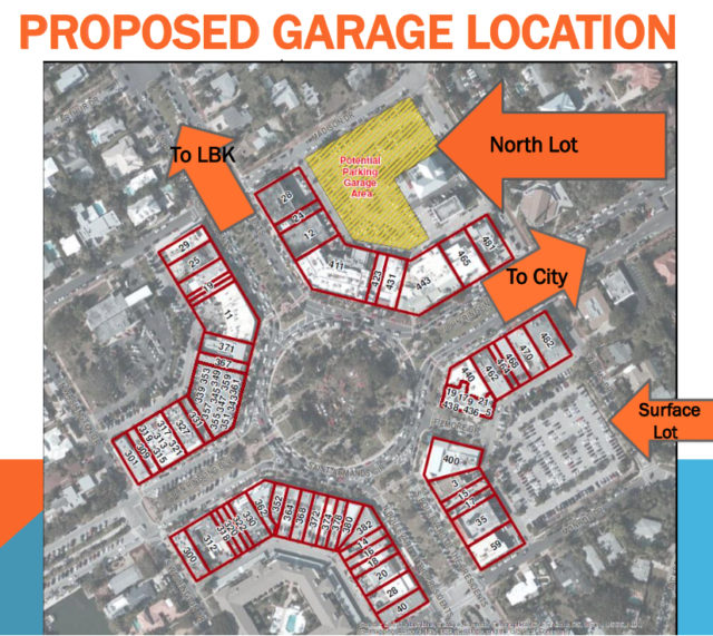 a graphic shows the location of the parking garage and properties to be assessed. Image courtesy City of Sarasota