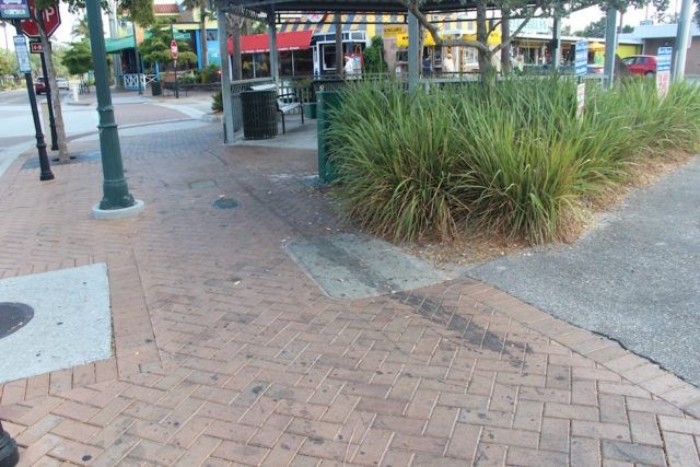 The streak on pavers in front of the Village gazebo was visible on the morning of May 3. Rachel Hackney photo