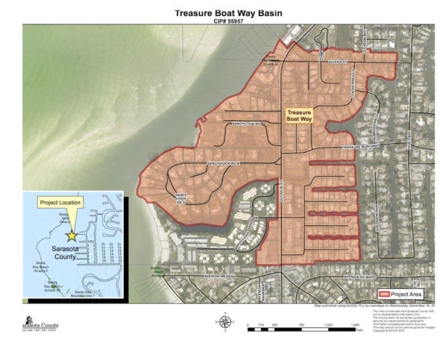 A graphic shows the Treasure Boat Way basin. Image courtesy Sarasota County