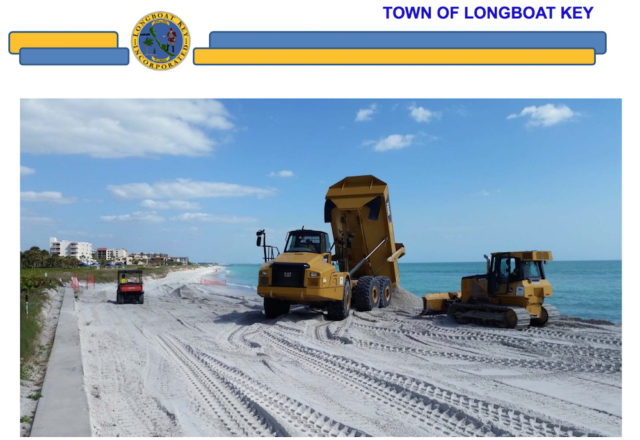 Equipment dumps and spreads the new sand. Image courtesy Town of Longboat Key