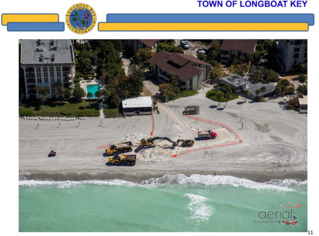 An aerial view shows the trucks at the site of the former Colony Resort. Image courtesy Town of Longboat Key