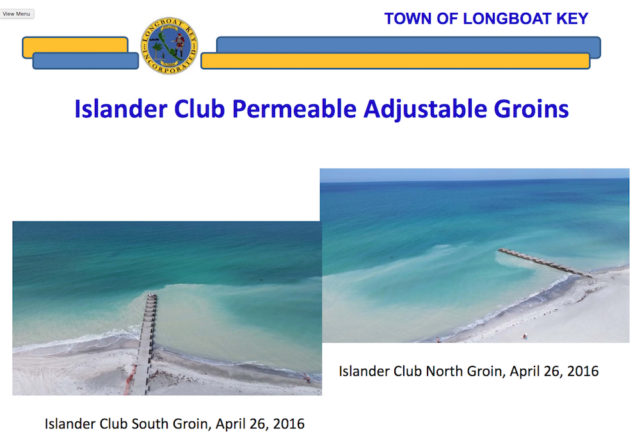 Two of the groins are shown in this slide. Image courtesy Town of Longboat Key