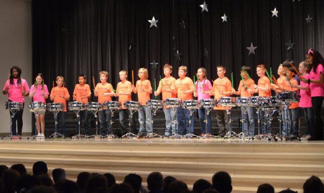The Phillippi Shores Elementary School PYP-Sticks perform during the elementary percussion division of their competition. Contributed photo