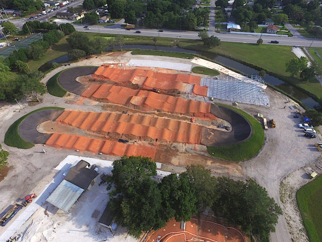 An aerial view taken in May shows progress on the BMX Park. Image courtesy Sarasota County