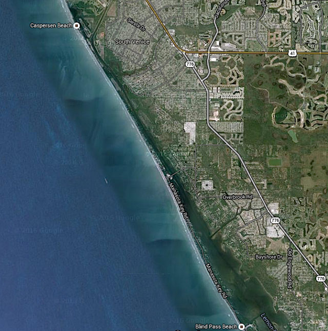 An aerial view shows Caspersen Beach and south Venice. Image from Google maps