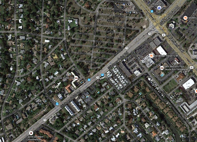 An aerial view shows the intersections of Glencoe Avenue and Avenue B and C with Stickney Point Road. Image from Google Maps